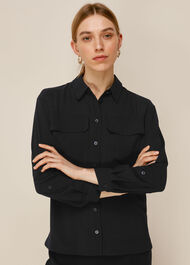 Textured Pocket Blouse Black