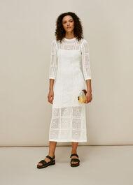 Crochet Knit Midi Dress White