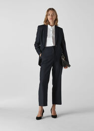 Pinstripe Wool Blazer Navy/Multi