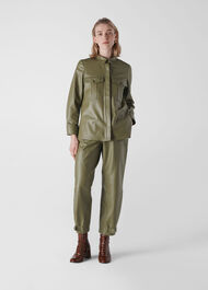 Leather Utility Shirt Khaki
