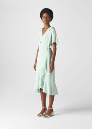 Abigail Frill Wrap Dress Pale Green