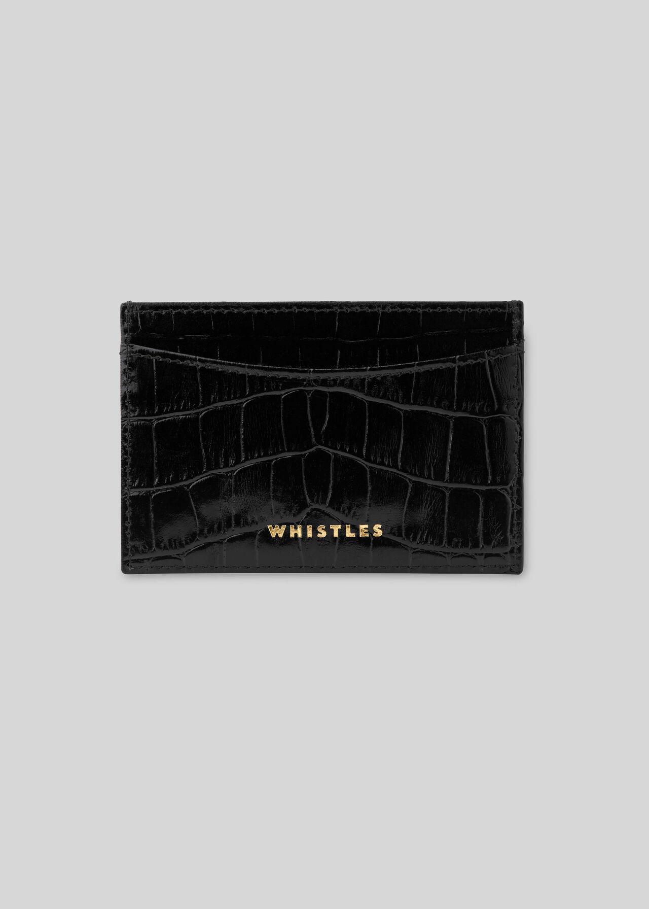 Shiny Croc Card Holder Black