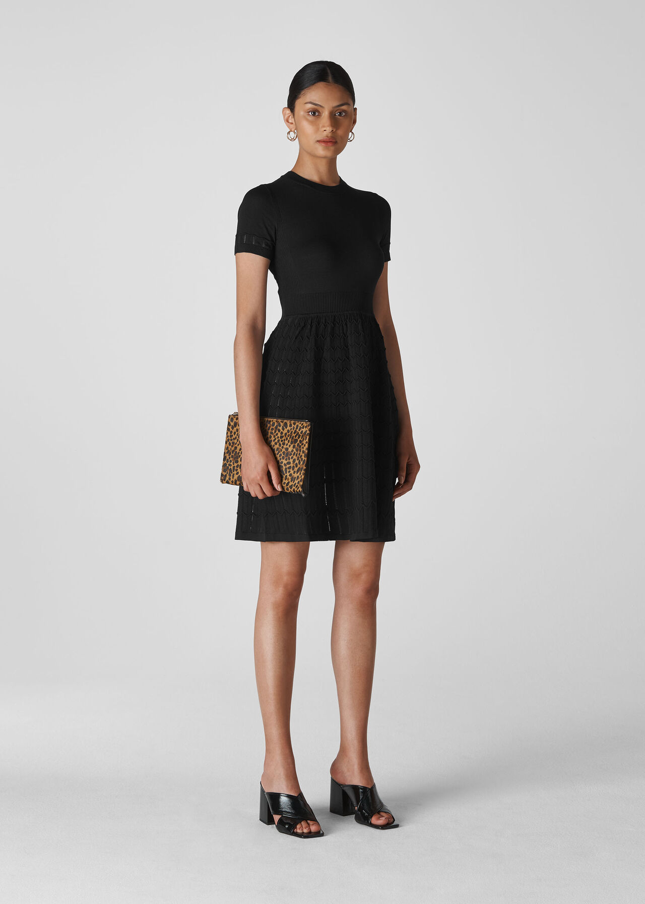 Black Zig Zag Fit And Flare Dress Whistles Whistles