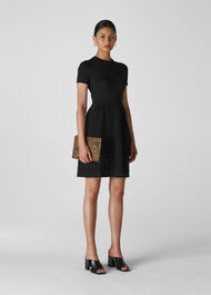 Zig Zag Fit And Flare Dress Black