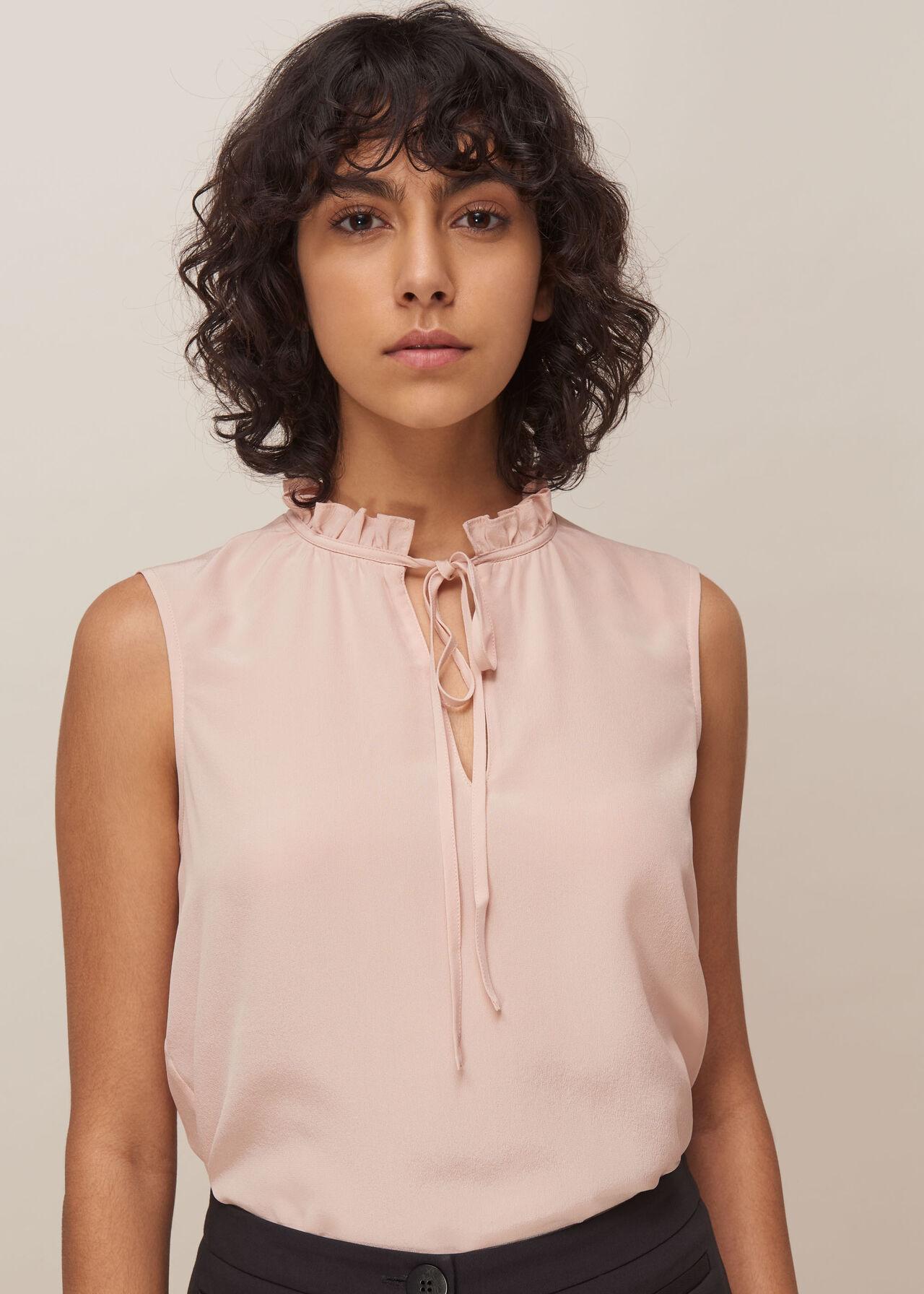 Selena Silk Top Pale Pink