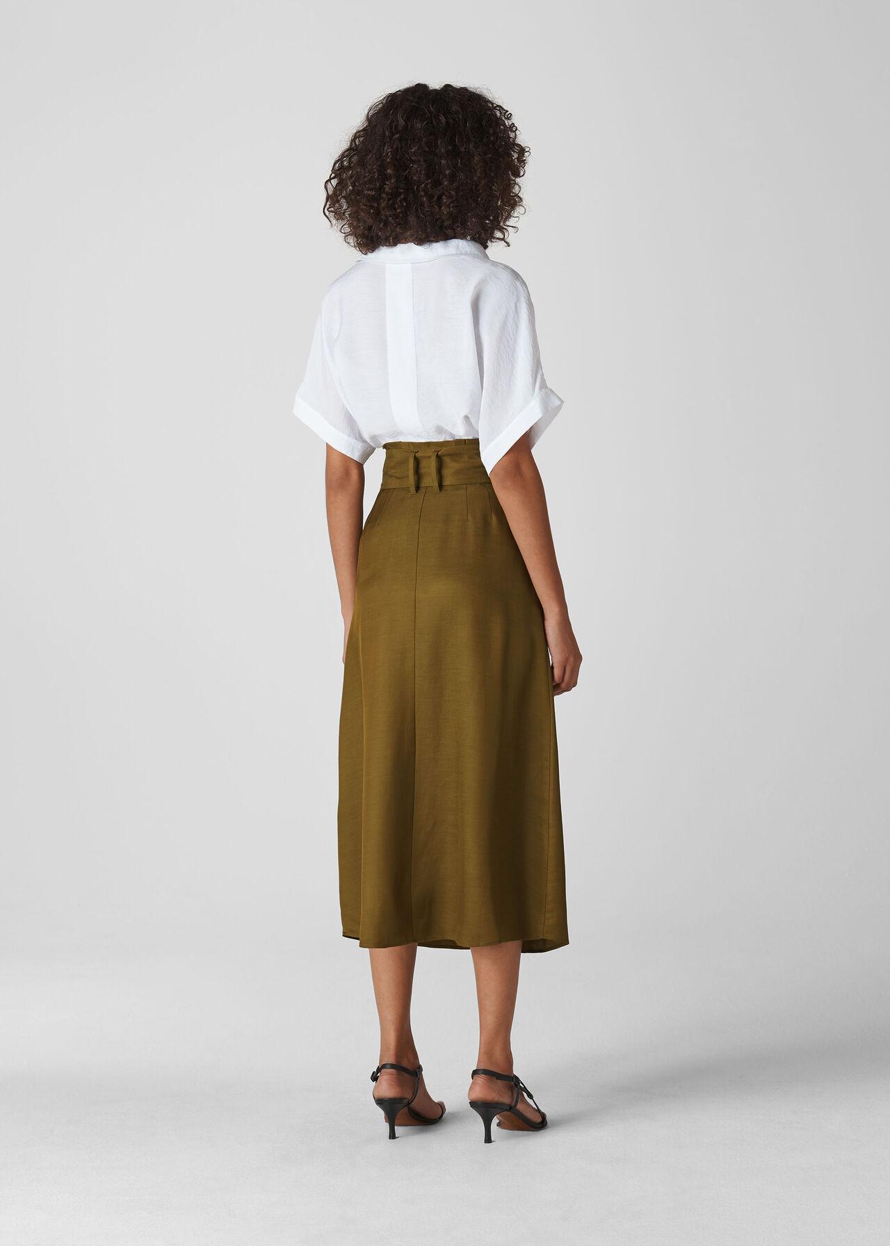 Rosita Buckle Skirt Khaki