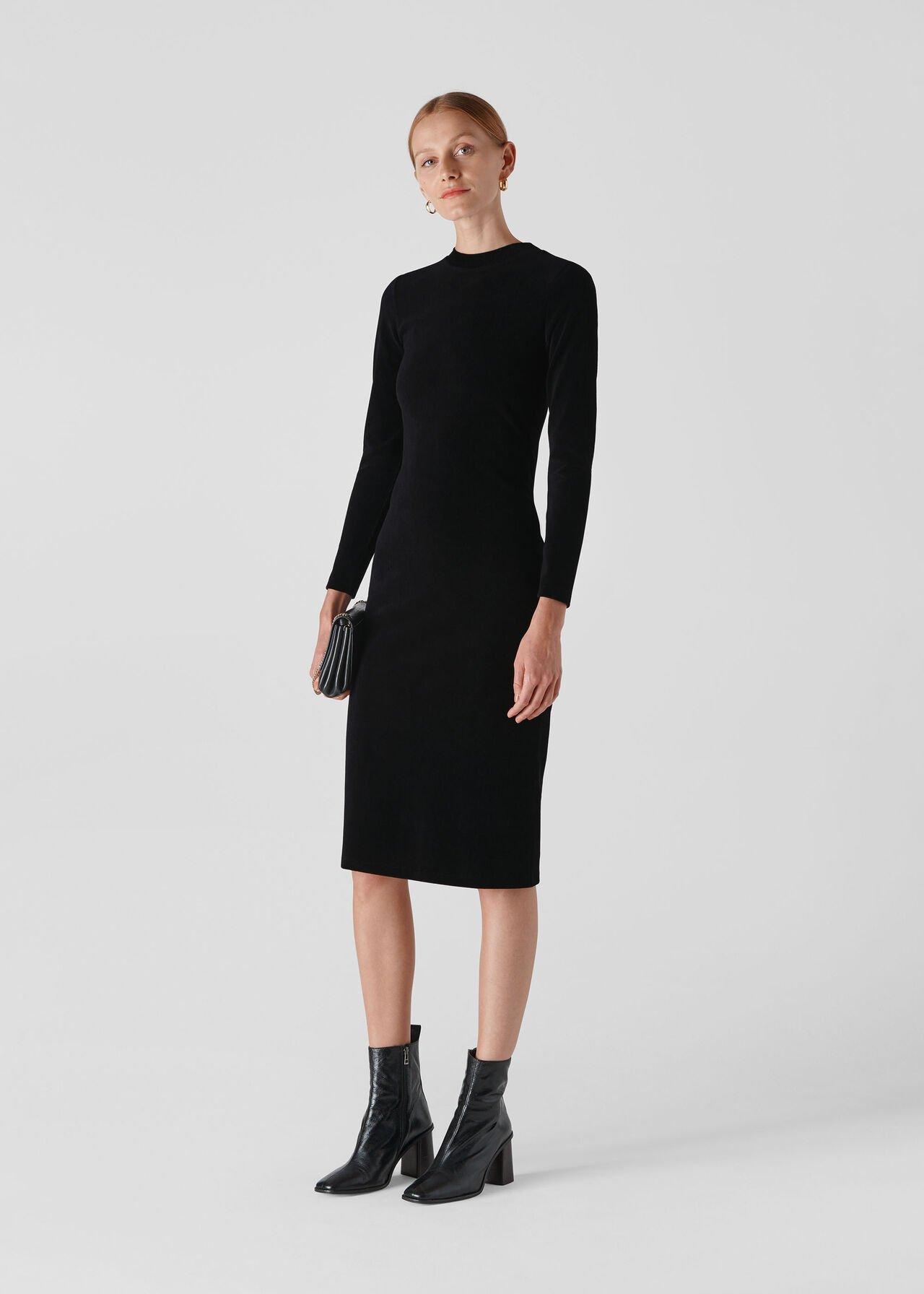 Cord Velvet Jersey Dress Black