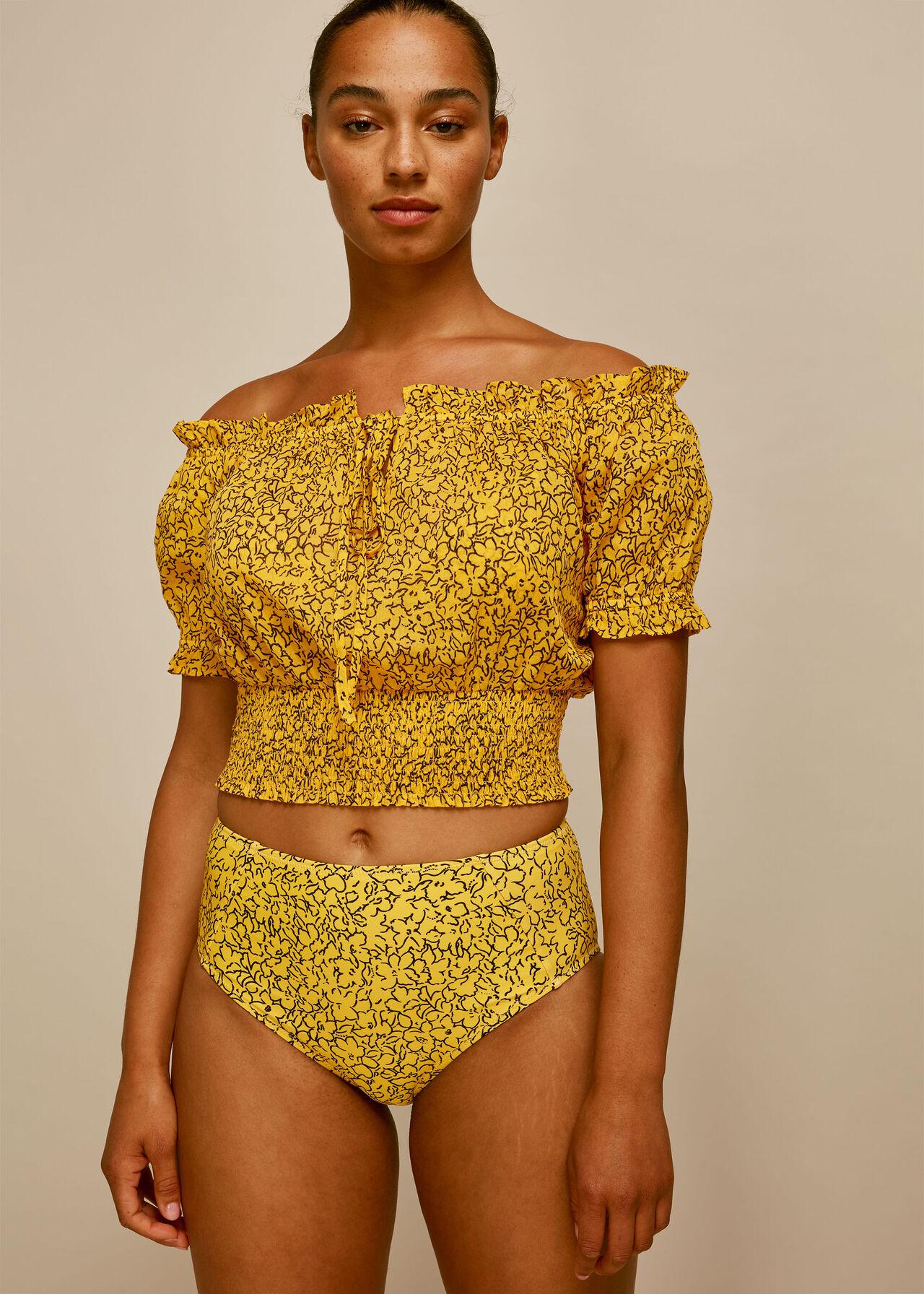 Floral Print Bikini Bottom Yellow