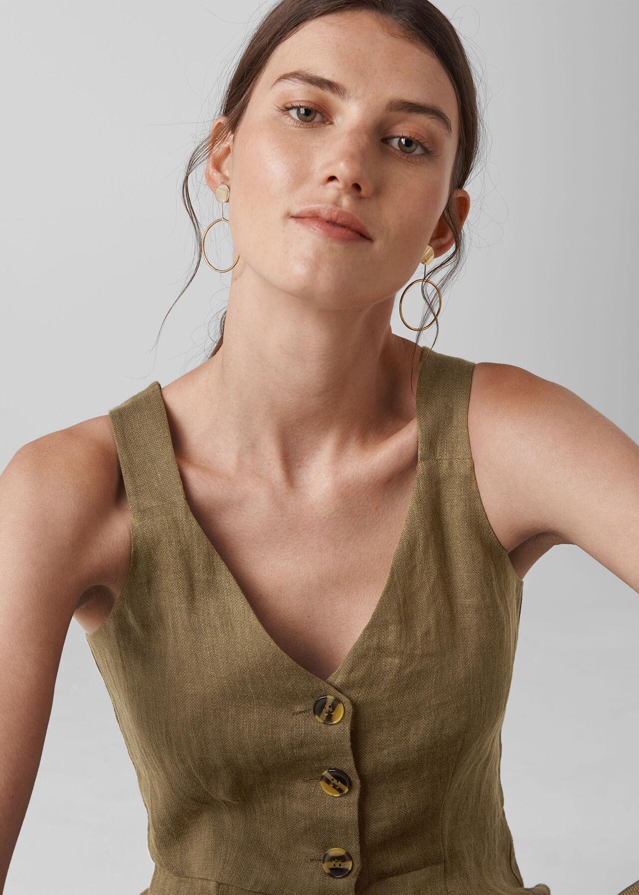 Liza Linen Button Jumpsuit Khaki