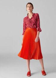Satin Pleated Skirt Flame
