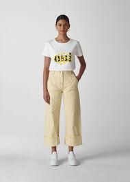 Oui Floral Logo Tshirt White