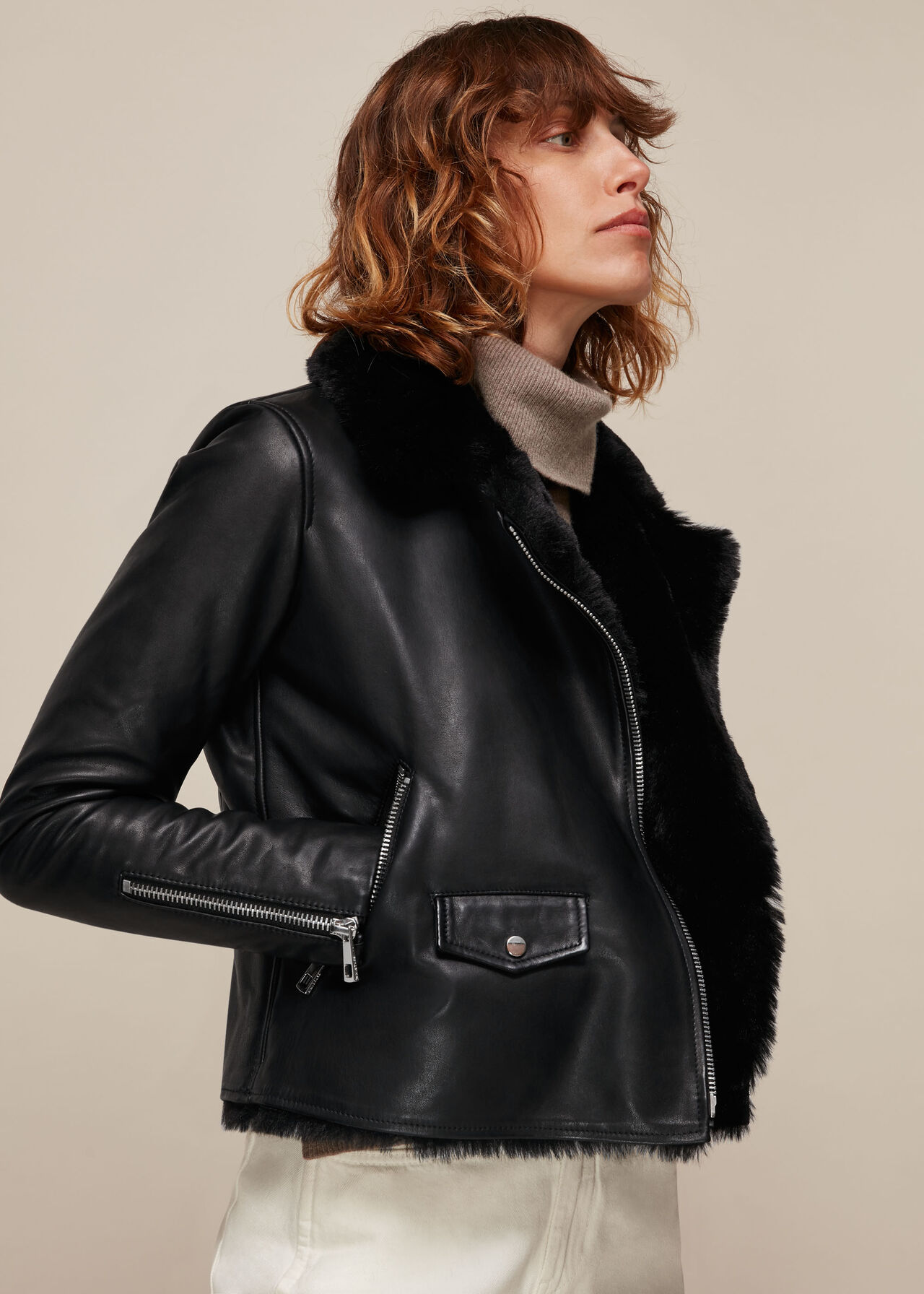 Faux Fur Lined Agnes Biker