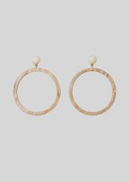 Large Ring Resin Earrings Beige