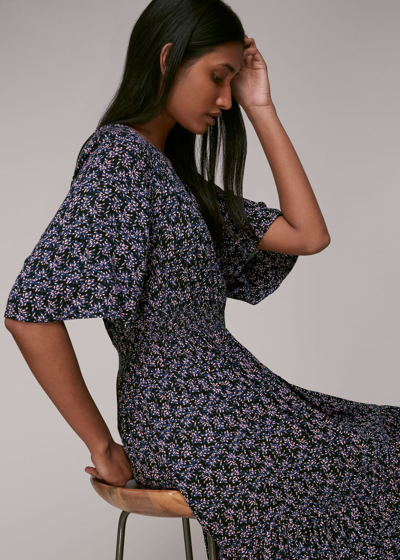 Kinetic Floral Midi Dress Multicolour