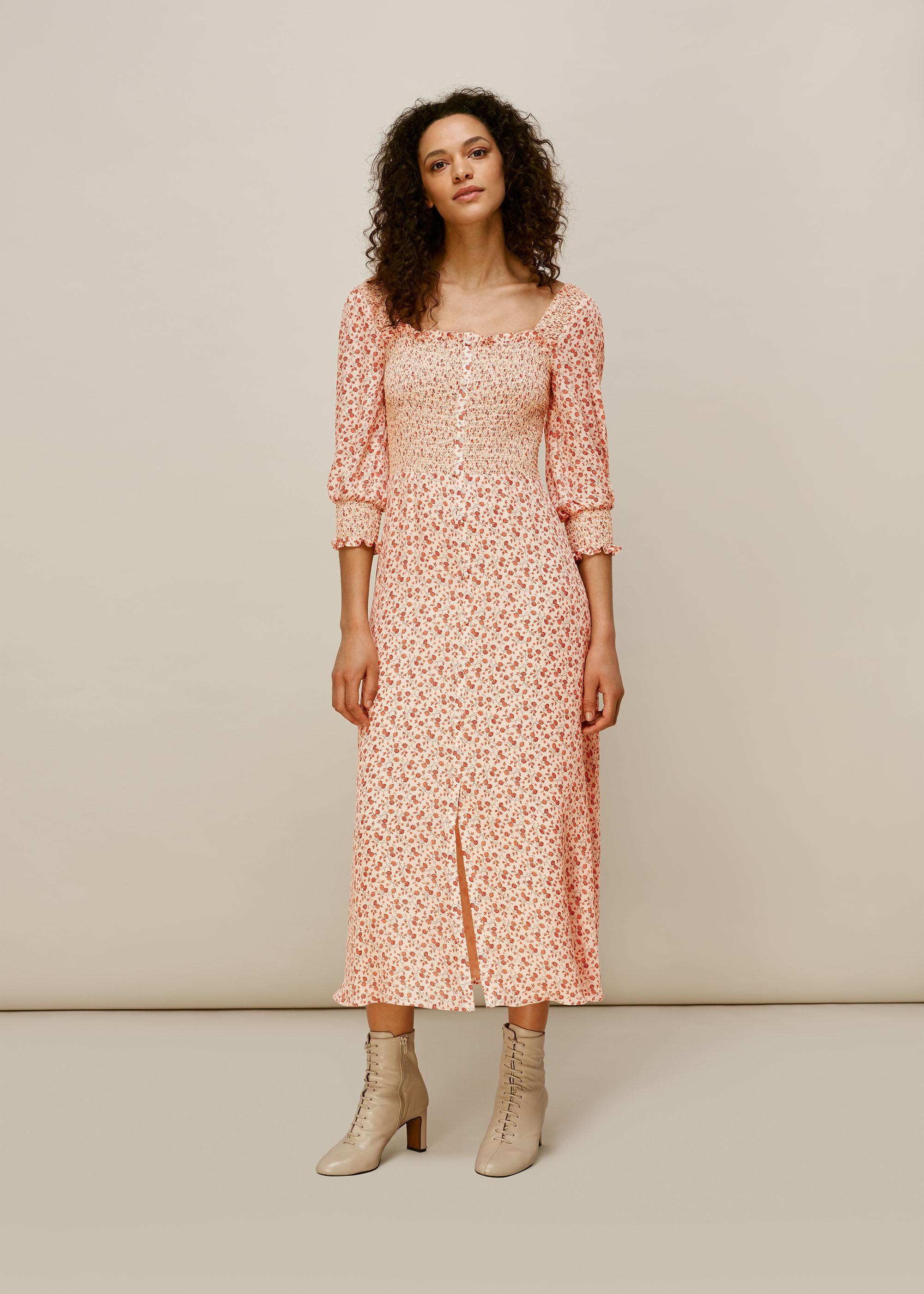 Whistles Women Flower Berry Print Silk Dress