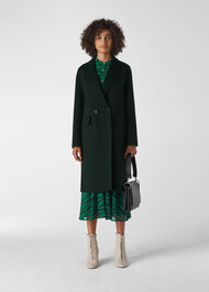 Double Faced Wool Coat Dark Green