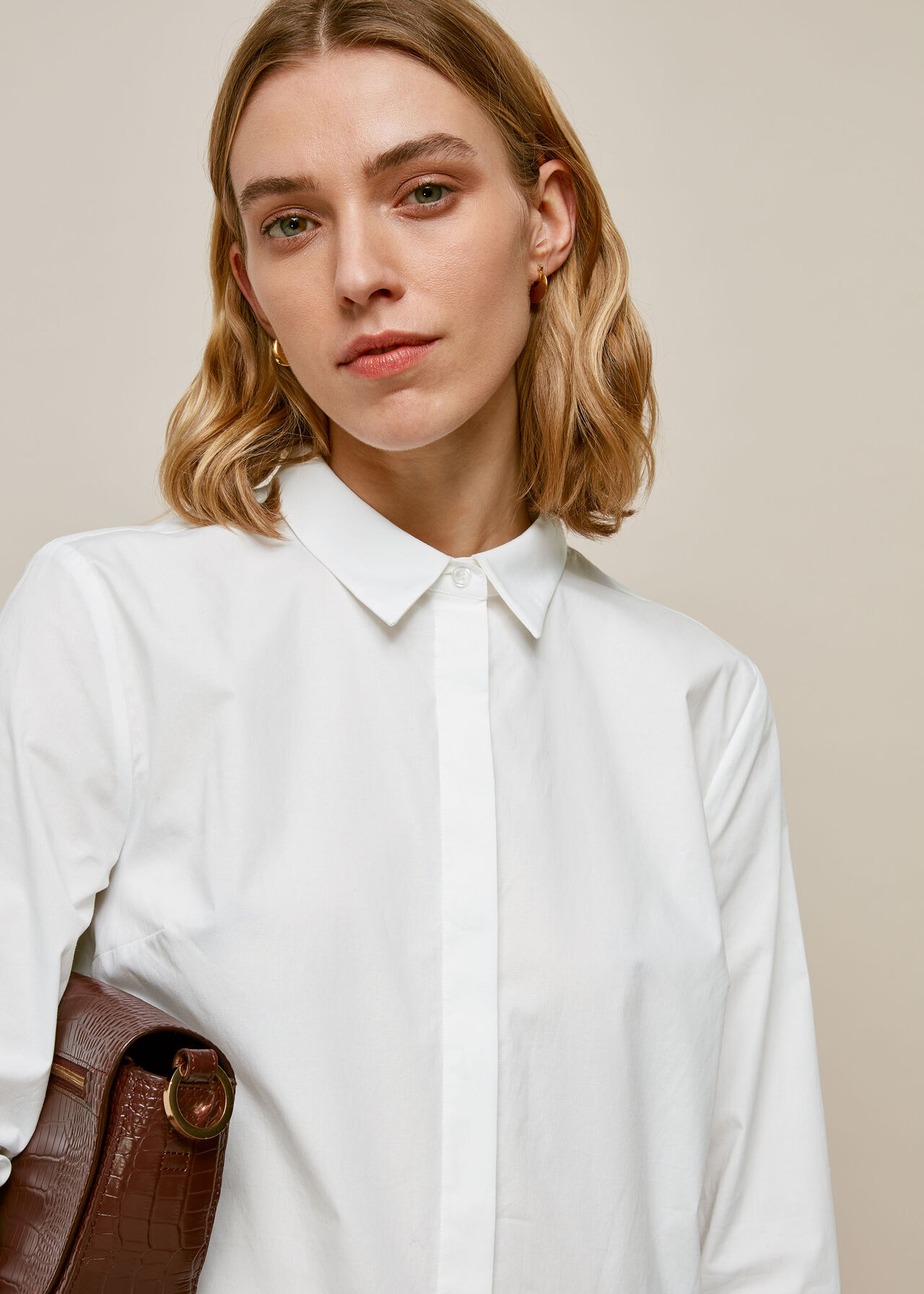 Cotton Longline Shirt White
