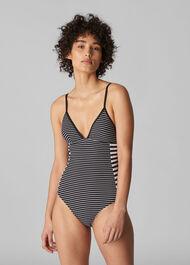 Santiago Stripe Swimsuit Black and White