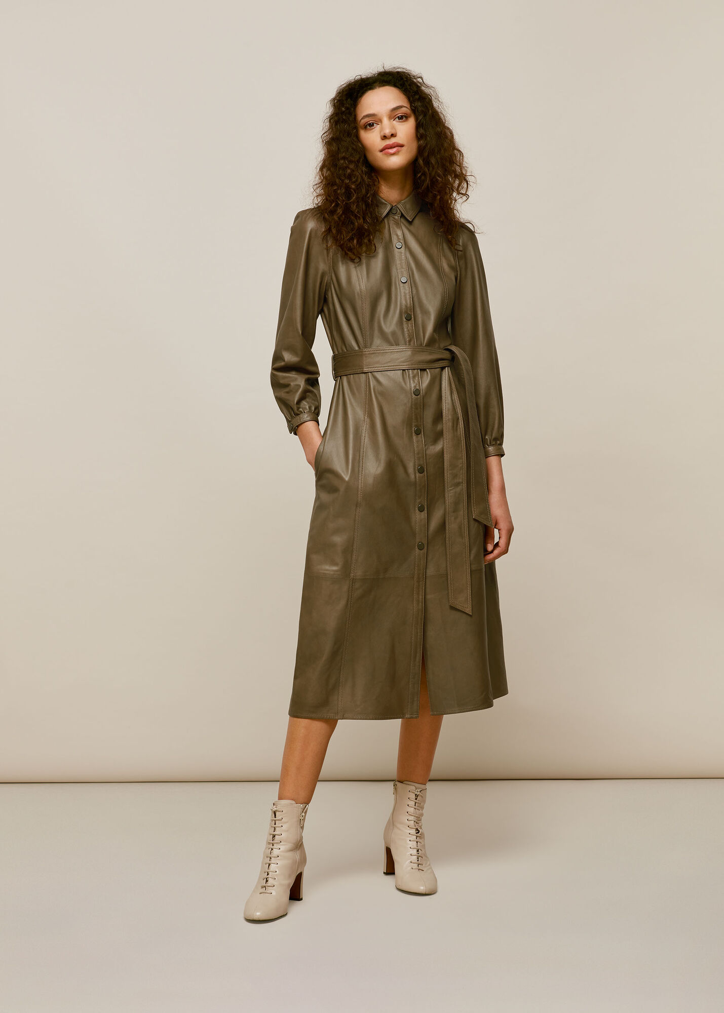 Phoebe Leather Shirt Dress