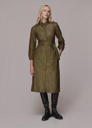 Phoebe Leather Shirt Dress Khaki
