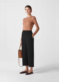 Contrast Stitch Wide Trouser Black