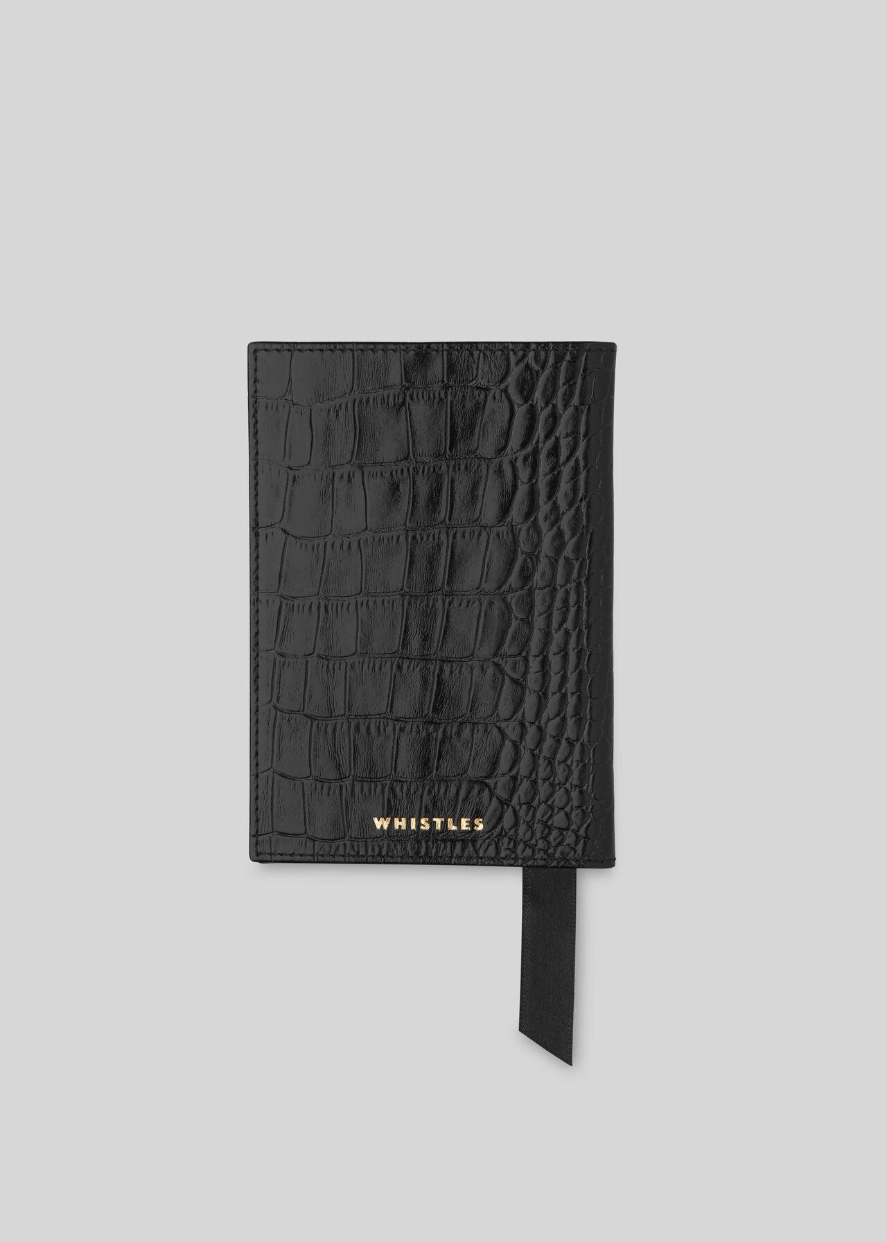Shiny Croc Passport Holder Black
