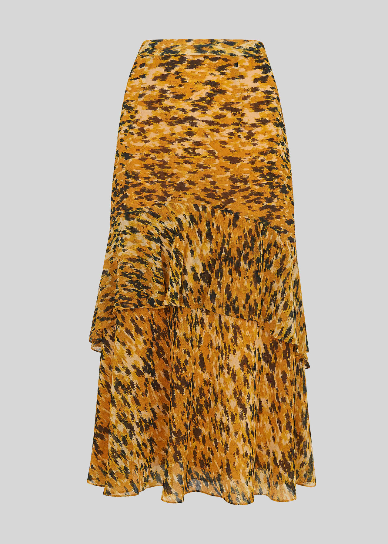 Whistles Femmes Jaune//Multicolore Midi Longueur Ikat Animal Midi Jupe RRP139 UK6 nouveau