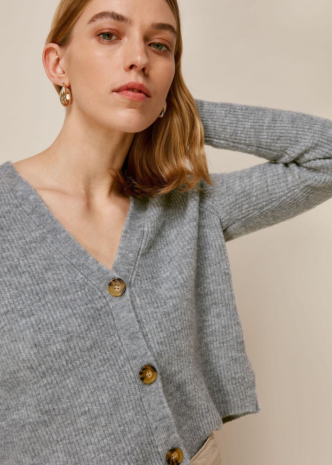 Rib Textured Cardigan Grey