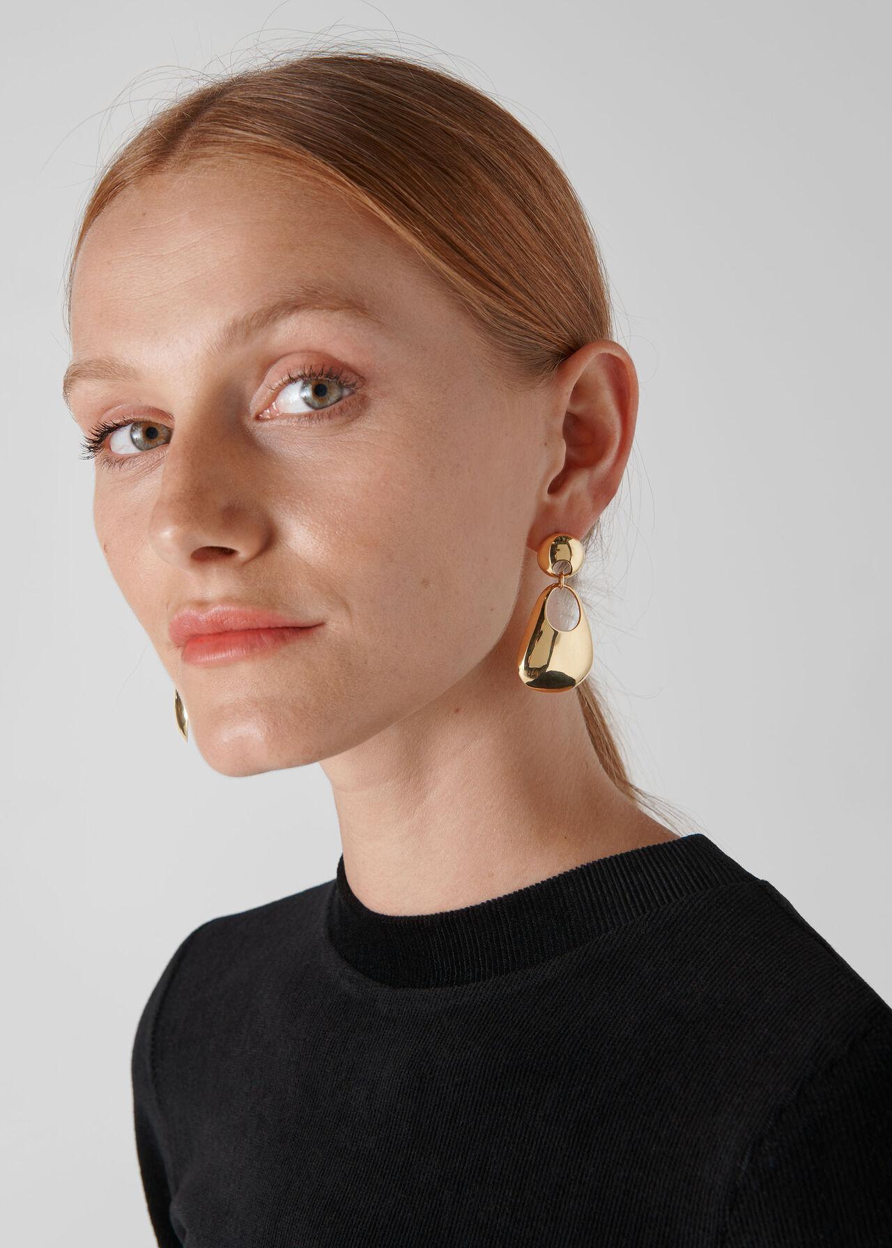 Sculptural Earring Gold/Multi