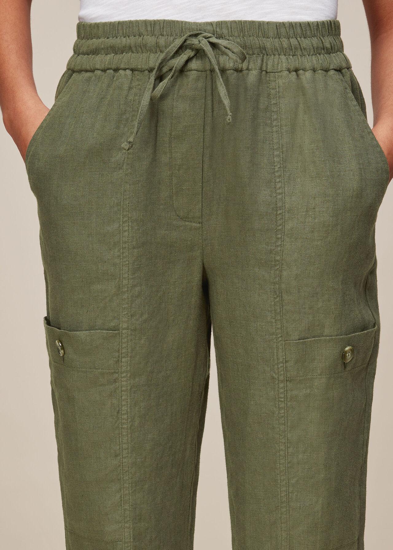 Linen Cargo Trouser Khaki