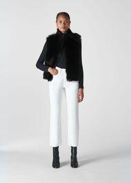 Short Toscana Sheepskin Gilet Black