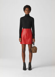 Leather A Line Skirt Red