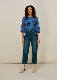 Trailing Seedpod Silk Top Blue/Multi