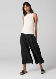 Jacquard Spot Pleated Wide Leg Black