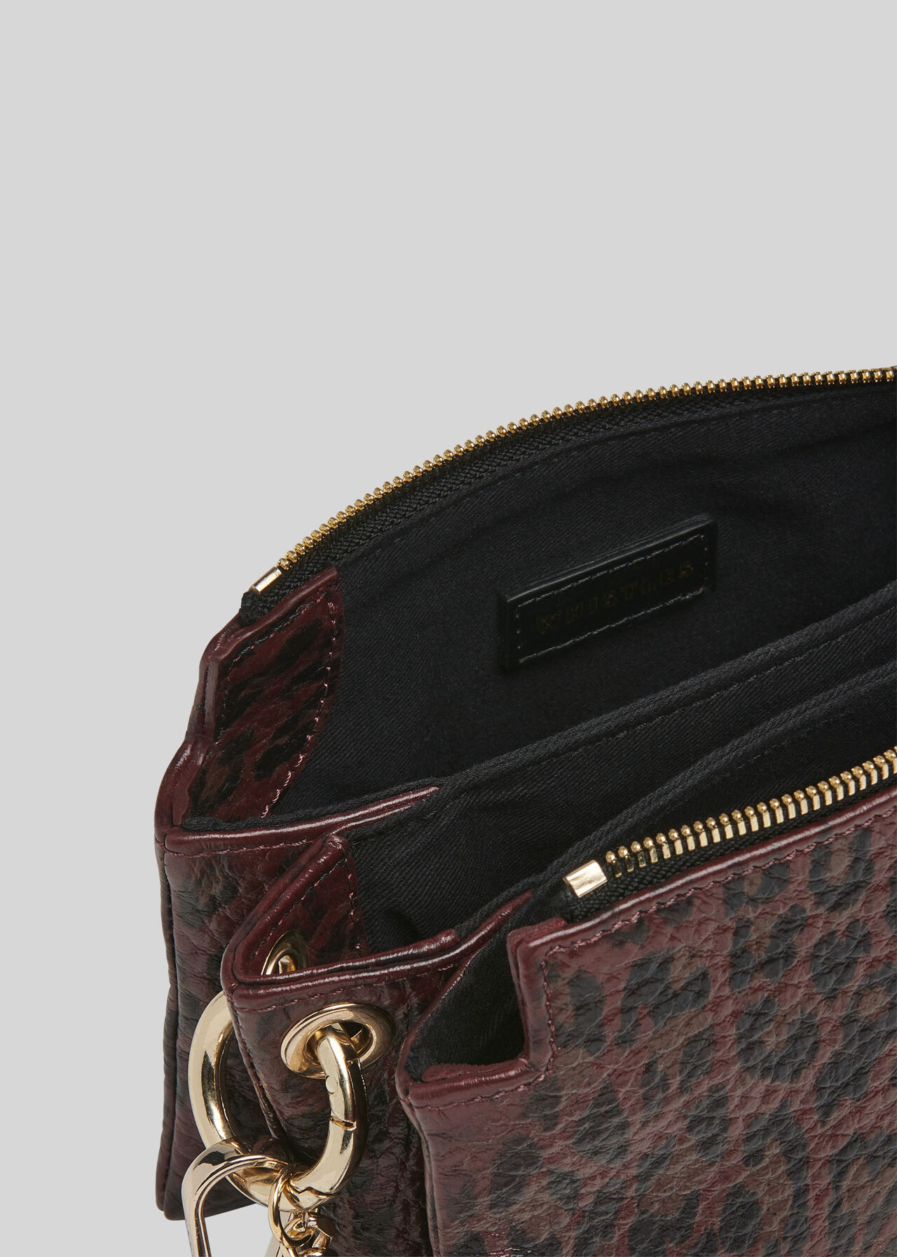 Hatton Leopard Chain Bag Burgundy