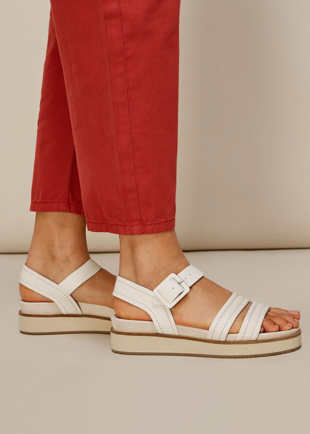 Koby Contrast Stitch Sandal White