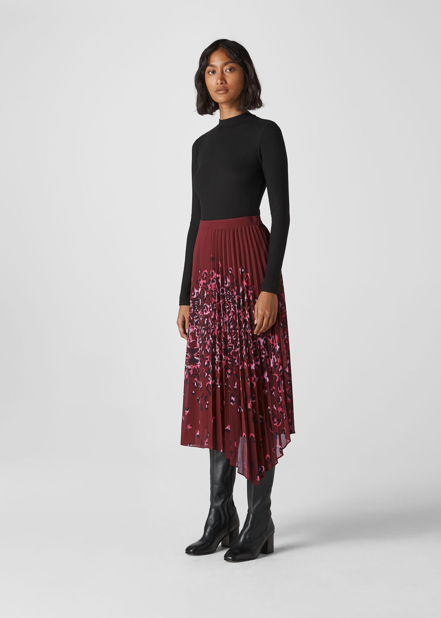 Leo Print Pleated Skirt