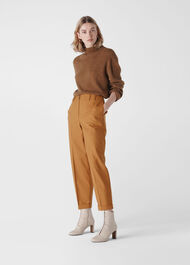 Tapered Button Front Trouser Tobacco