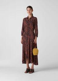 Amara Brushed Leopard Dress Brown/Multi