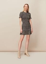 Yasmin Spot Shirred Dress