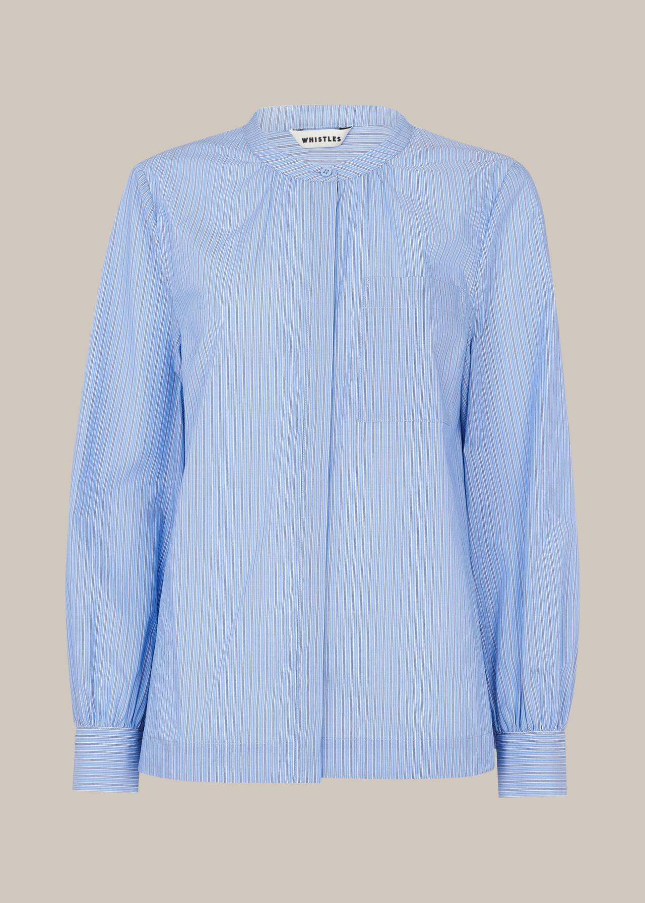 Stripe Cotton Pocket Shirt