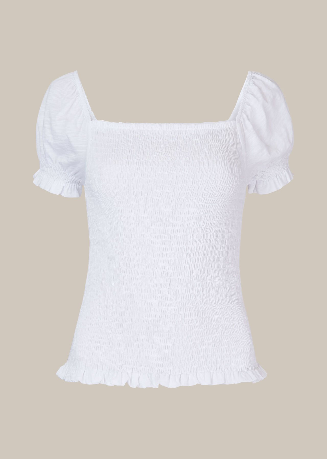 Bex Rouched Frill Top White