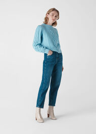 Puff Sleeve Cable Sweater Blue