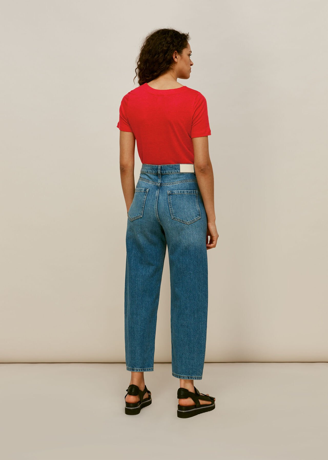 Linen Button Front Tie Top Red