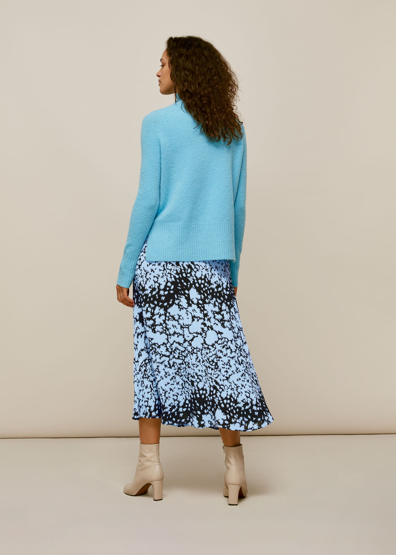 Floral Animal Button Skirt Blue/Multi