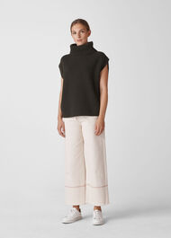 Polo Neck Tunic Knit Khaki