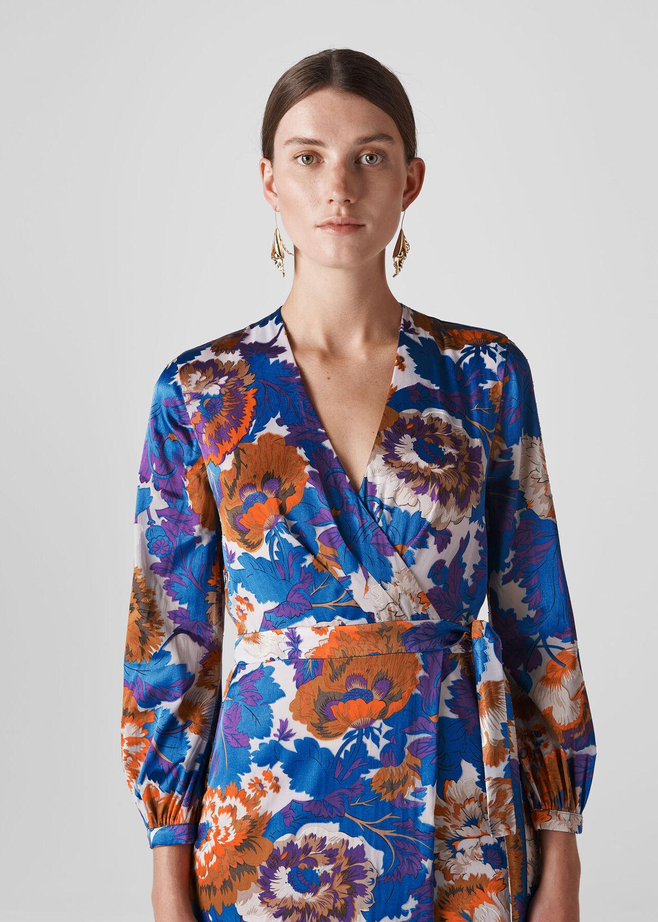 Autumn Bloom Devore Wrap Dress Multicolour