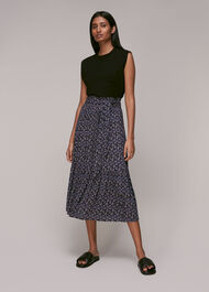 Kinetic Print Tie Front Skirt Multicolour