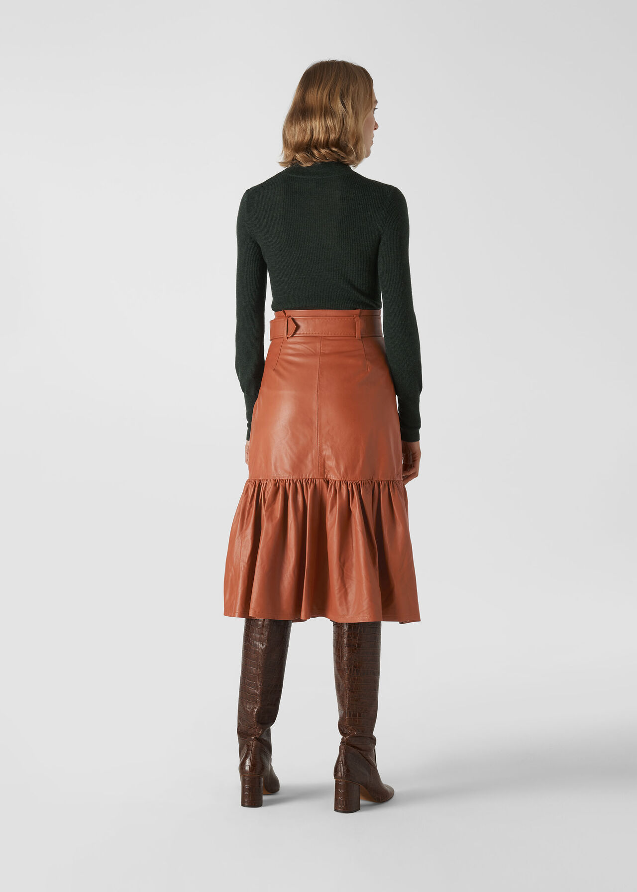 Belted Leather Skirt Toffee