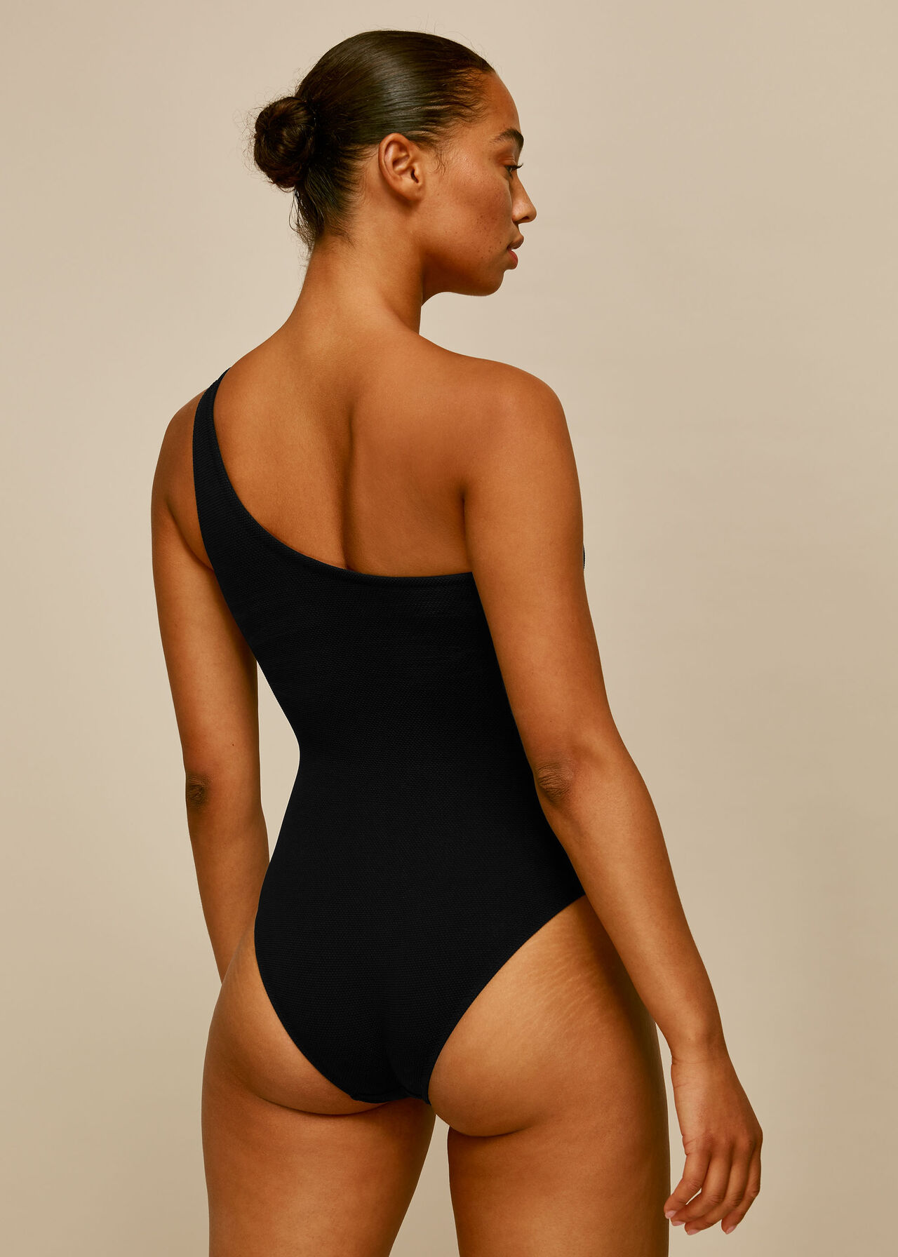 Tort Ring Textured Swimsuit Black